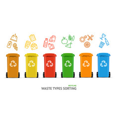 waste sorting types concept vector image