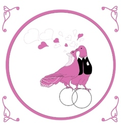 wedding card with kissing doves vector image vector image