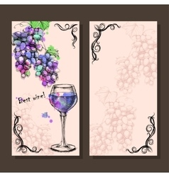 Card menu of sketch grapes wine bottle vector