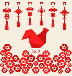 happy chinese new year 2017 of red rooster with vector image