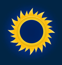 The sun circle on blue sky background vector