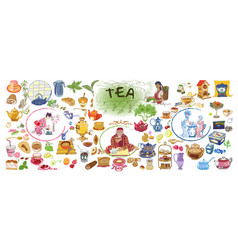 colorful drawing doodle tea elements collection vector image