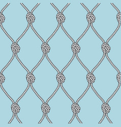 Marine rope fishnet with knots seamless vector