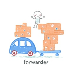 forwarder rides on a machine that carries boxes vector image