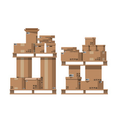 Pile cardboard boxes on wooden pallets vector