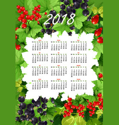 2018 calendar of fresh berries and fruits vector image vector image