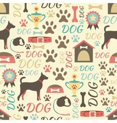 Retro seamless pattern of dog icons endless vector