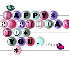 Birthday card with color candy and text vector
