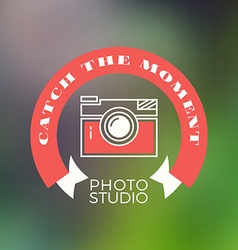 Photography logo design template retro badge catch vector