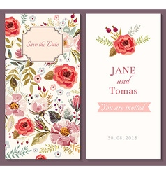 Save the date floral template vector