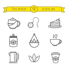 Tea accessories linear icons set vector
