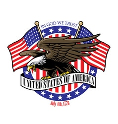 Eagle grip the usa ribbon sign with the flag vector