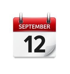 September 12 flat daily calendar icon vector
