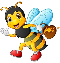 Cartoon bee holding pot of honey vector