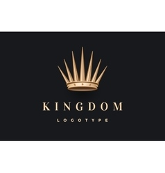 Logo with gold king crown and inscription Kingdom vector image