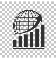 Growing graph with earth dark gray icon on vector
