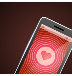Mobile phone and heart icon vector