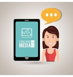 Woman with cellphone isolated icon design vector