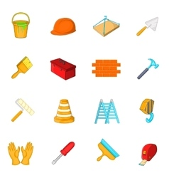 Working tools icons set cartoon style vector
