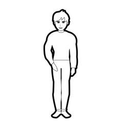 Black silhouette cartoon full body guy atlethic vector