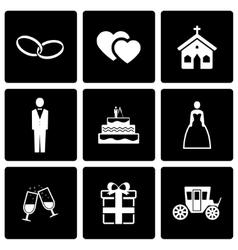 Black wedding icon set vector