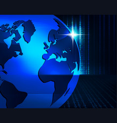 Blue background with outlines of the globe vector