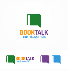 Book talk logo set different color vector