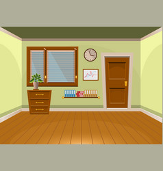 Cartoon flat interior office room in lime style vector