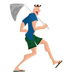 Cartoon man walking with butterfly net vector image