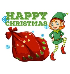 Christmas theme with elf and present bag vector