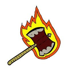 comic cartoon flaming axe vector image vector image