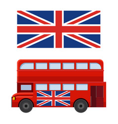 Double decker bus with flag of great britain vector