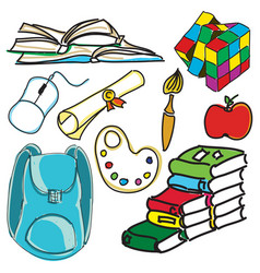 Drawn colored school bag vector
