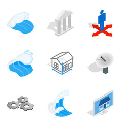 Electric capacity icons set isometric style vector
