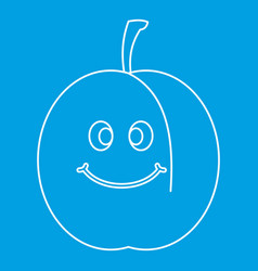 Fresh smiling apricot icon outline vector