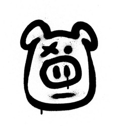 Graffiti hog sprayed in black on white vector