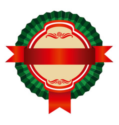 Green round emblem with ribbon icon vector