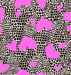 Hearts on animal spots print - seamless background vector image