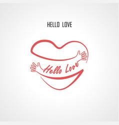 hello love typographical design elements vector image vector image