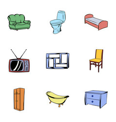 house furniture icons set cartoon style vector image