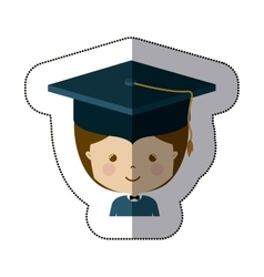 Isolated boy with graduation cap design vector
