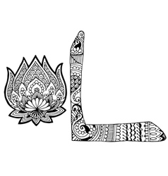 Letter l decorated in the style of mehndi vector