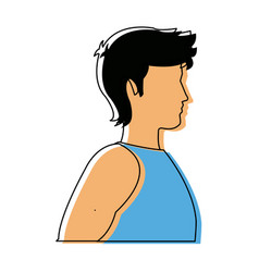 Male man avatar profile icon in blue sport clothes vector