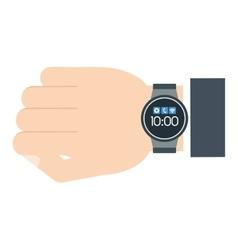 Man hand smart watch wearable technology vector