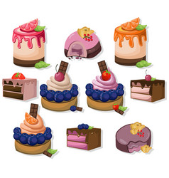 Mousse chocolate delicious cakes set collection vector
