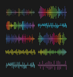 multicolored graphic equalizer waves soundtrack vector image vector image