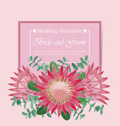 pink wedding invitation vector image vector image
