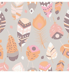 Seamless pattern with bohemian feathers vector