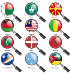 Set Flags of world sovereign states magnifying vector image