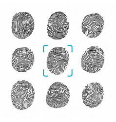 Set of different fingerprints police scanner for vector
